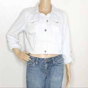 Chico's Platinum White Cropped Jean Jacket